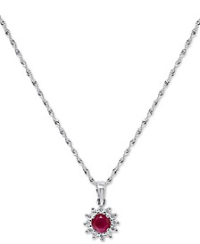 "Certified Ruby (3/8 ct. t.w.) & Diamond (1/8 ct. t.w.) Halo Stud 18"" Pendant Necklace in 14k White Gold"