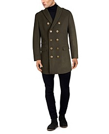 Men's Solid Military Inspired Topcoat