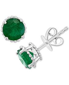 EFFY® Emerald Stud Earrings (1-1/2 ct. t.w.) in 14k White Gold (Also in Tanzanite, Ruby & Sapphire)