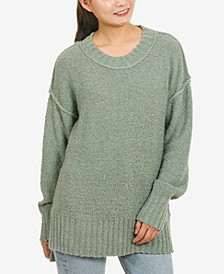 Juniors' Drop-Shoulder Boucle Tunic Sweater
