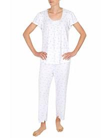 Pointelle Floral-Print Pajama Set