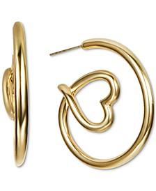 "INC Gold-Tone Medium Heart Open Hoop Earrings, 1.3"",  Created for Macy's"