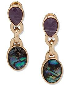 Gold-Tone Multi-Stone Drop Clip-On Earrings