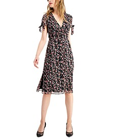 Floral-Print Tie-Sleeve Dress, Created for Macy's