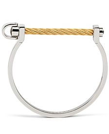 White Topaz Two-Tone Cable Horseshoe Bangle Bracelet (1/6 ct. t.w.) in Stainless Steel & 18k Gold PVD Plate