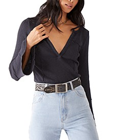 Give A Little Tee Ribbed V-Neck Top
