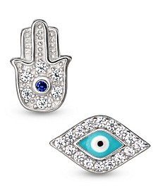Cubic Zirconia 2-Piece Hamsa and Evil Eye Singlets Earrings Set