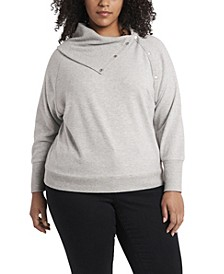Women's Plus Size Fold Over Neck Long Sleeve Top