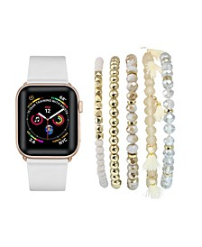 Unisex White Patent Leather Band for Apple Watch and Bracelet Bundle, 38mm