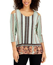 Mixed-Print Cold-Shoulder Crepe Top, Created for Macy's