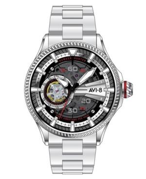Men's Hawker Hunter Avon Automatic Red Devils Silver Tone Stainless Steel Bracelet Watch
