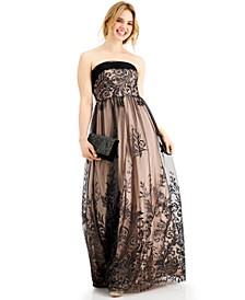 Juniors' Strapless Glitter Tulle-Overlay Ball Gown