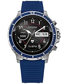 Men's CZ Smart HR Blue Silicone Strap Touchscreen Smart Watch 46mm