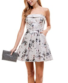 Juniors' Strapless Glitter Fit & Flare Dress
