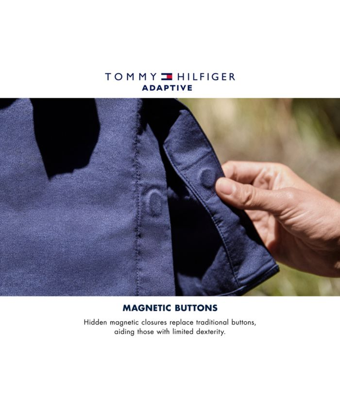Tommy Hilfiger Men's Classic-Fit Ducal Stripe Shirt with Magnetic Closure & Reviews - Casual Button-Down Shirts - Men - Macy's