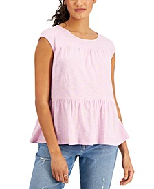 Cotton Dot-Print Tiered Tank Top, Created for Macy's