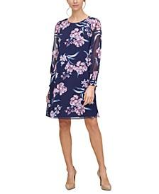 Floral-Print Smocked-Cuff A-Line Dress