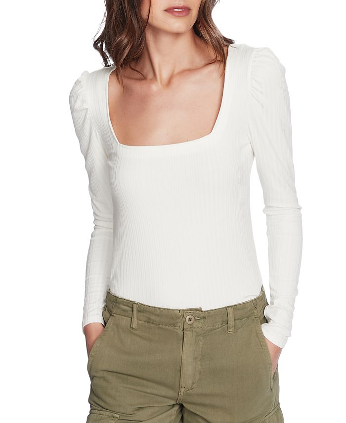 1.STATE - Ribbed Puff-Sleeve Top