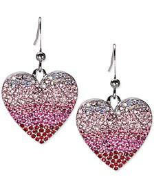 Silver-Tone Ombré Pavé Heart Drop Earrings, Created for Macy's