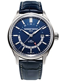 Men's Swiss Automatic Yacht Timer GMT Navy Alligator Leather Strap Watch 42mm