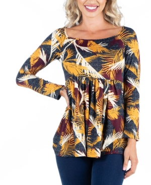 Womens Feather Print Long Sleeve Babydoll Tunic Top