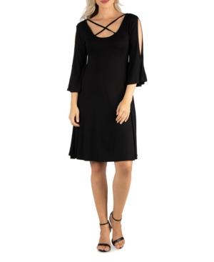 Womens Knee Length Cold Shoulder Dress