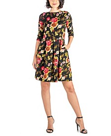 Women's Rose Print Fit and Flare Pocket Dress