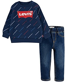 Baby Boys Printed Crew Denim Set