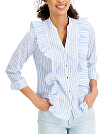Cotton Striped Ruffle-Trim Blouse, Created for Macy's
