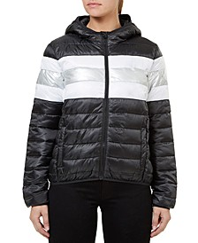 Quilted Hooded Metallic-Stripe Packable Jacket
