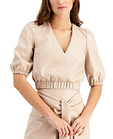 Faux-Leather Cropped Top, Created for Macy's