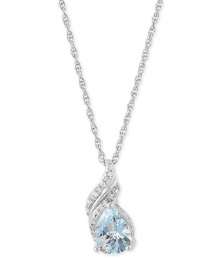 "Macy's - Aquamarine (1-1/3 ct. t.w.) & Diamond (1/10 ct. t.w.) 18"" Pendant Necklace in Sterling Silver"