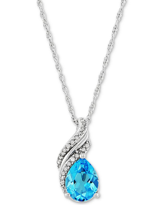 "Macy's - Swiss Blue Topaz (2 ct. t.w.) & Diamond (1/10 ct. t.w.) 18"" Pendant Necklace in Sterling Silver"