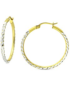 "Small Textured Hoop Earrings in Sterling Silver & 18k Gold-Plate, 1"", Created for Macy's"