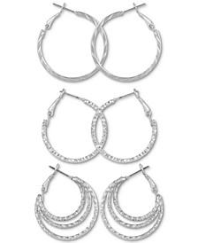 3-Pc. Set Hoop Earrings