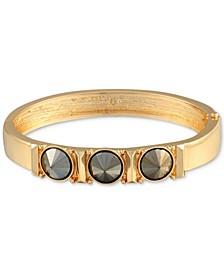 Gold-Tone Hematite Stone Bangle Bracelet