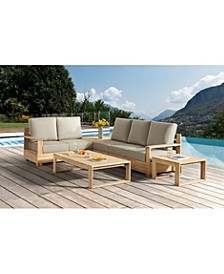 Willison 6-Pc Outdoor Teak Seating Set with Sunbrella® Fabric (4-Pc Sectional with Corner Table, Coffee & End Table), Created for Macy's