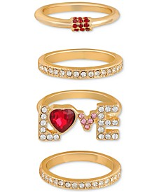 Gold-Tone 4-Pc. Set Red Crystal Stackable Rings