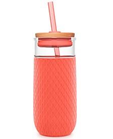 Devon 18-Oz. Glass Tumbler with Silicone Protection & Straw