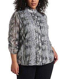Trendy Plus Size Printed Blouse