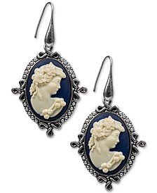 Silver-Tone Cameo Drop Earrings