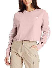 Women's Cotton Long-Sleeve Cropped T-Shirt