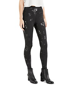 INC Floral-Embossed Compression Leggings, Created for Macy's