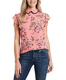 CeCe Collared Floral-Print Blouse