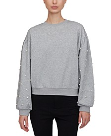 Imitation-Pearl-Embellished Sweatshirt