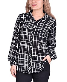 Women's Plus Size Button Front Blouse
