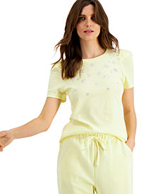 INC Cotton Star-Embellished Puff-Sleeve T-Shirt, Created for Macy's