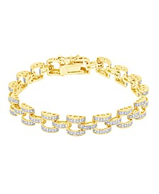 Diamond Accent Panther Link Bracelet in Fine Silver Plate or Gold Plate