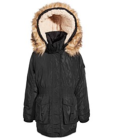 Big Girls Hooded Anorak with Faux-Fur Trim