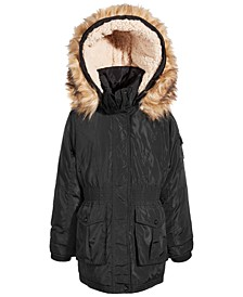 Little Girls Hooded Anorak with Faux-Fur Trim